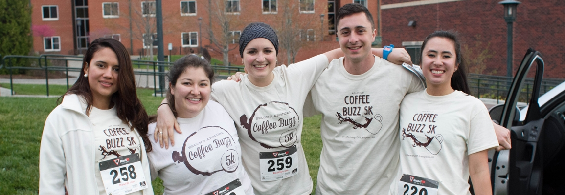 participants in Coffee Buzz 5K t-shirts